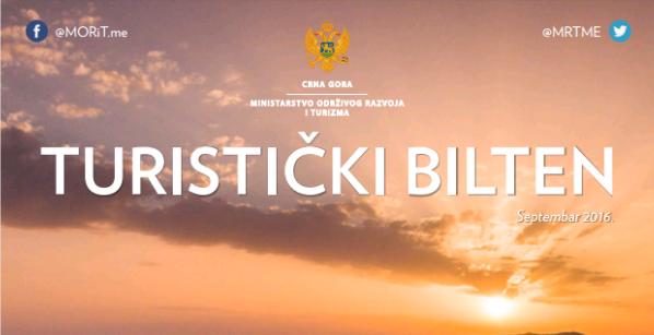 Septembarsko izdanje Turističkog biltena Ministarstva održivog razvoja i turizma