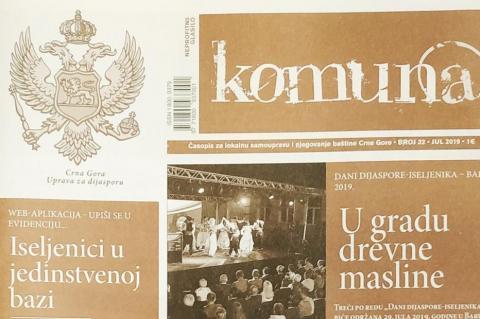 """Novi broj časopisa """"Komuna"""" posvećen crnogorskoj dijaspori"""