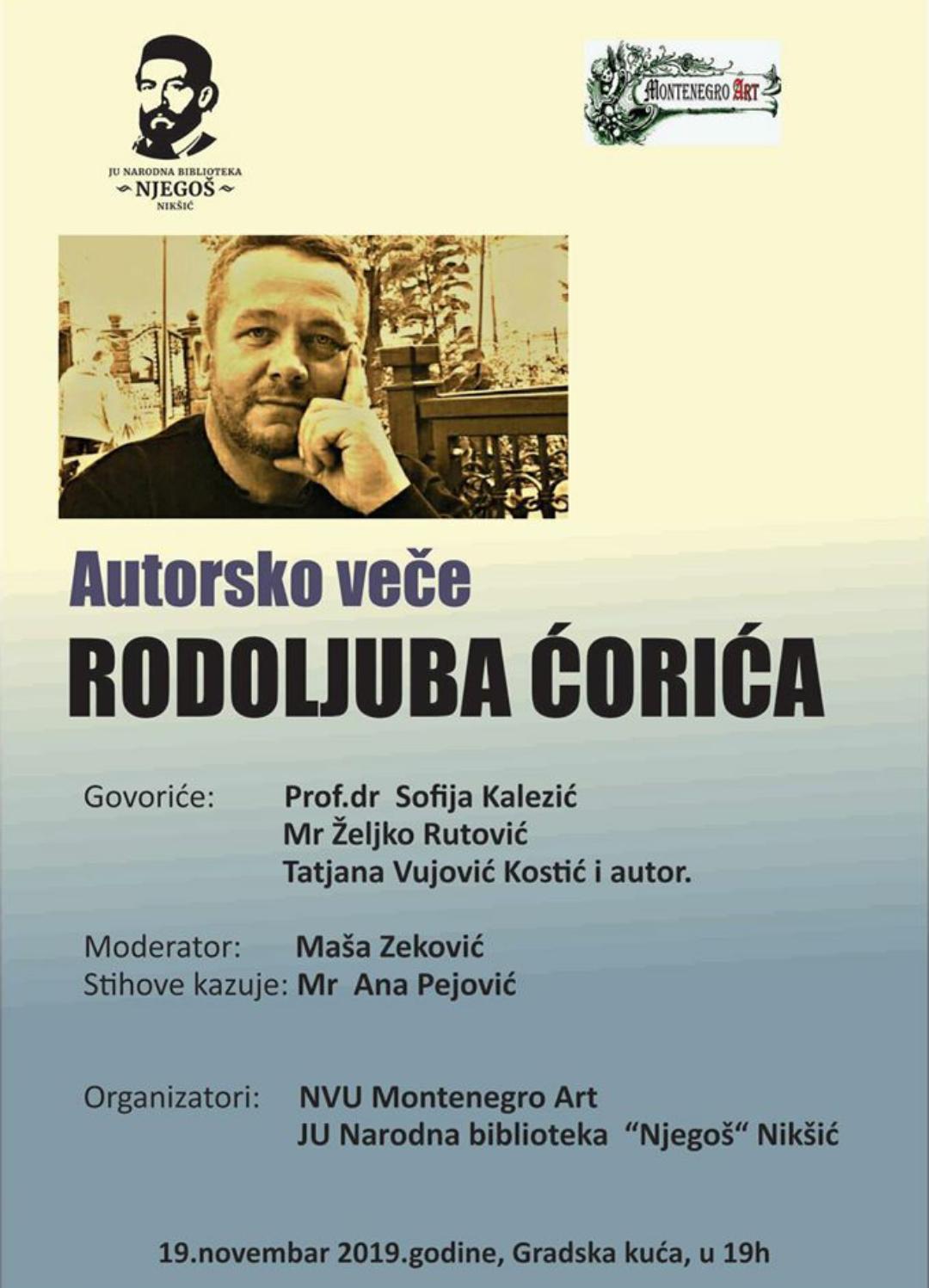 Autorsko veče Rodoljuba Ćorića u Nikšiću