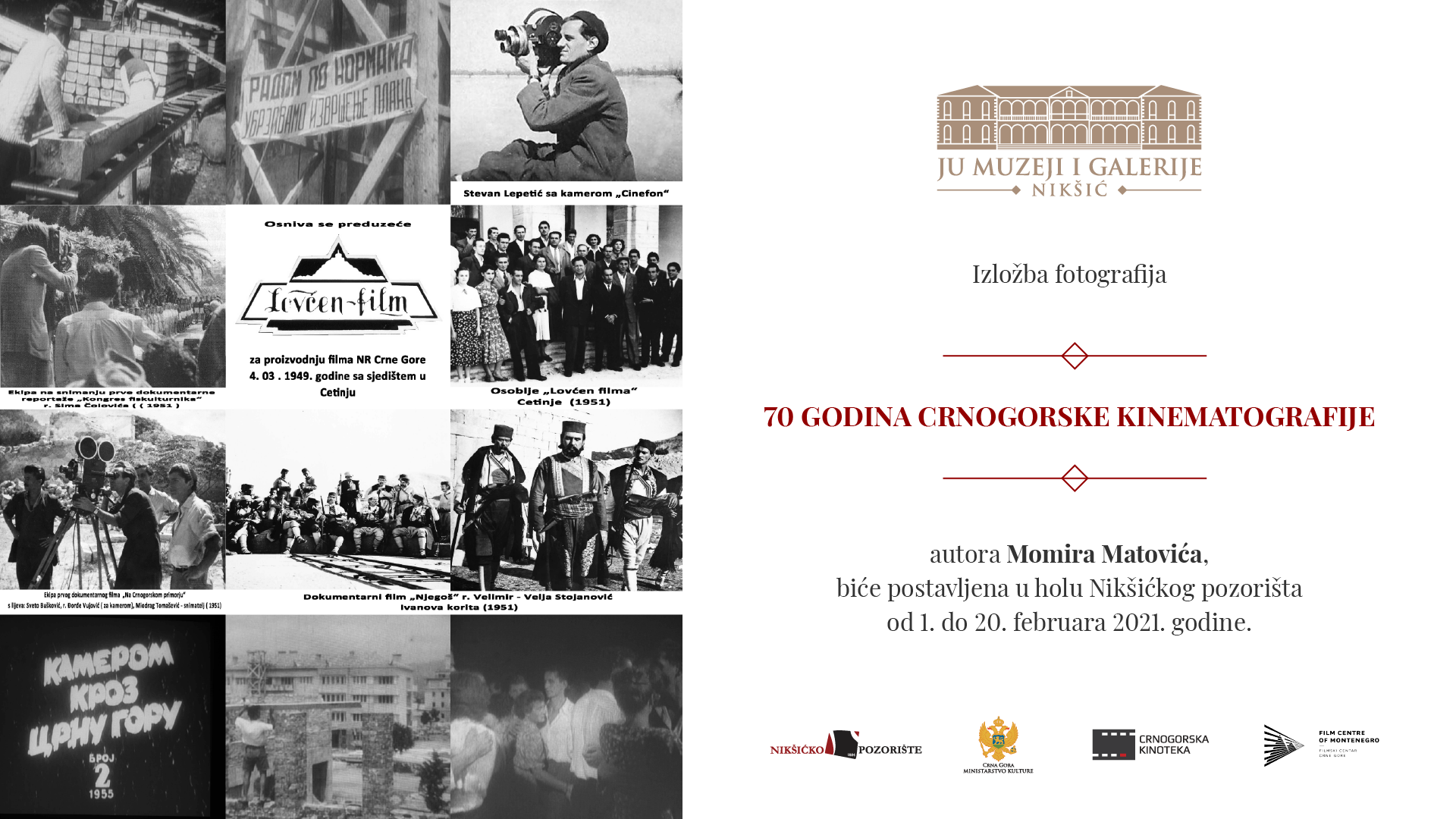 Izložba fotografija povogom 70 godina crnogorske kinematografije